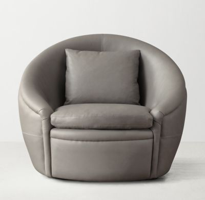 RH TEENu0027s Oberon Leather Swivel Chair:Circular Logic. Our Cozy Tub Chairu0026#39