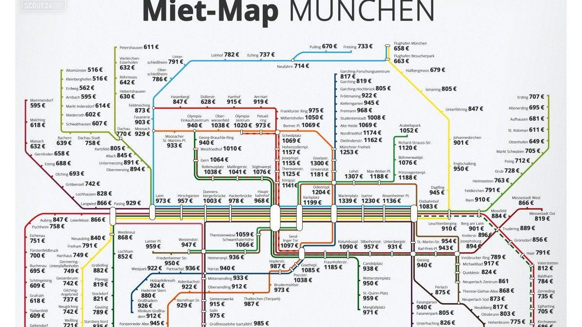 Die Mieten In Und Um Munchen Sortiert Nach Haltestellen Ein Immobilienportal Hat Einen Fahrplan Entwickelt Hausbau Kosten Planer Fahrplan