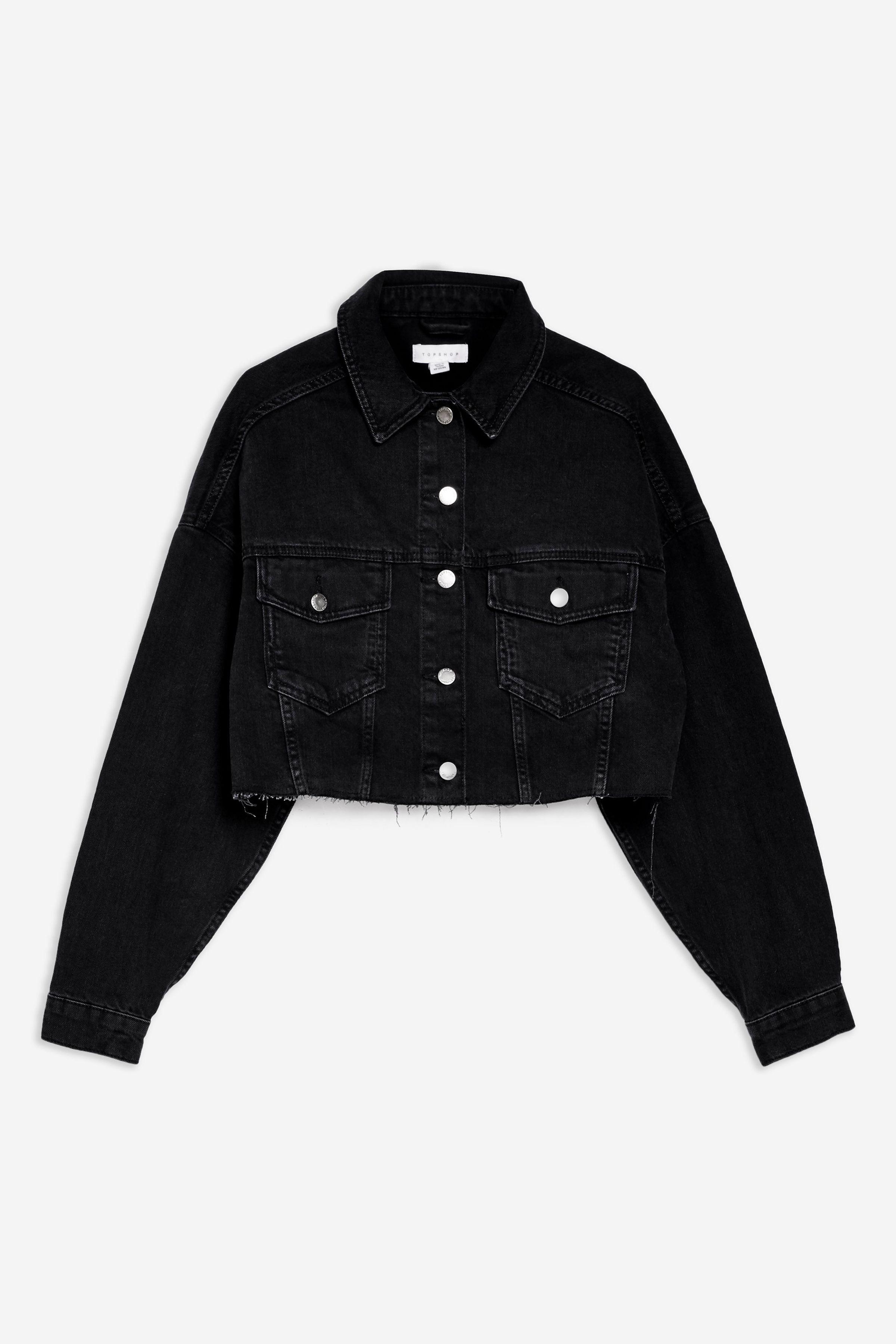 Washed Black Hacked Off Denim Cropped Jacket Jean Jacket Outfits Cropped Denim Jacket Jackets