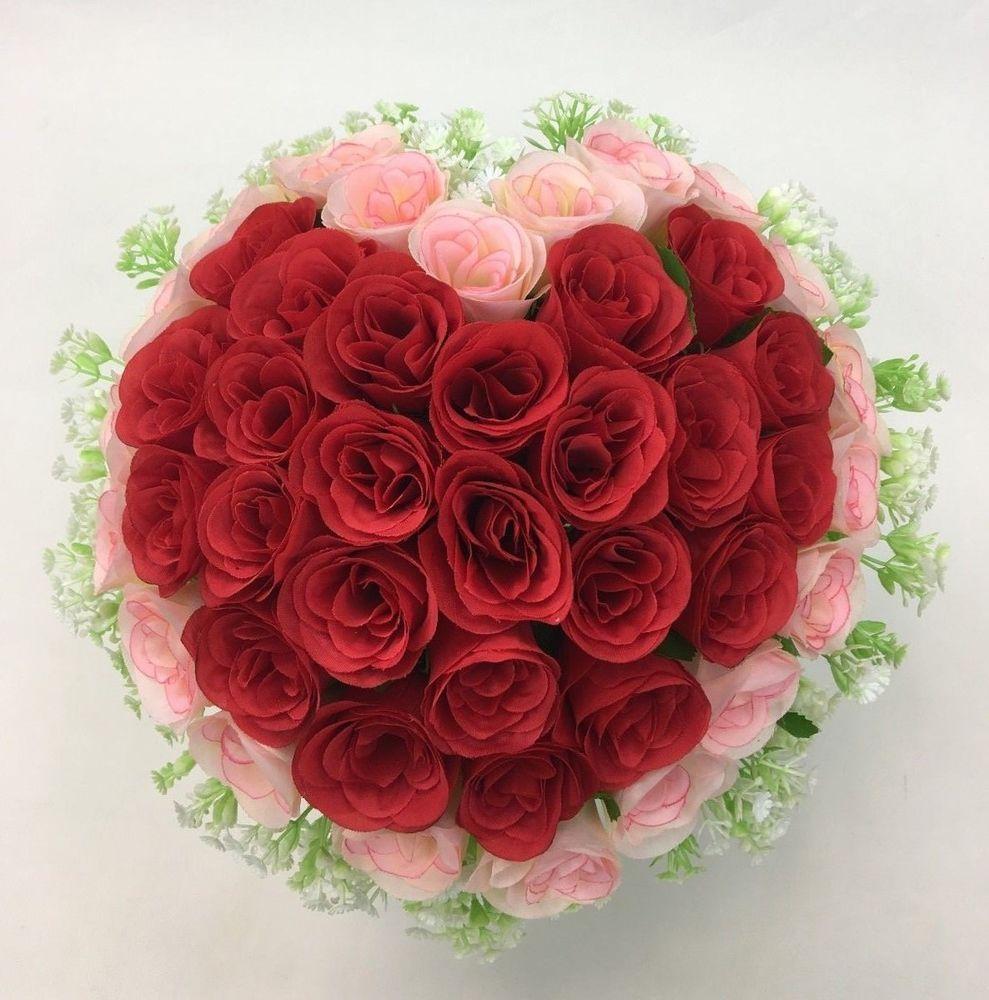 Artificial Silk Heart Shape Pinkred Rosesbaby Breath Flowers