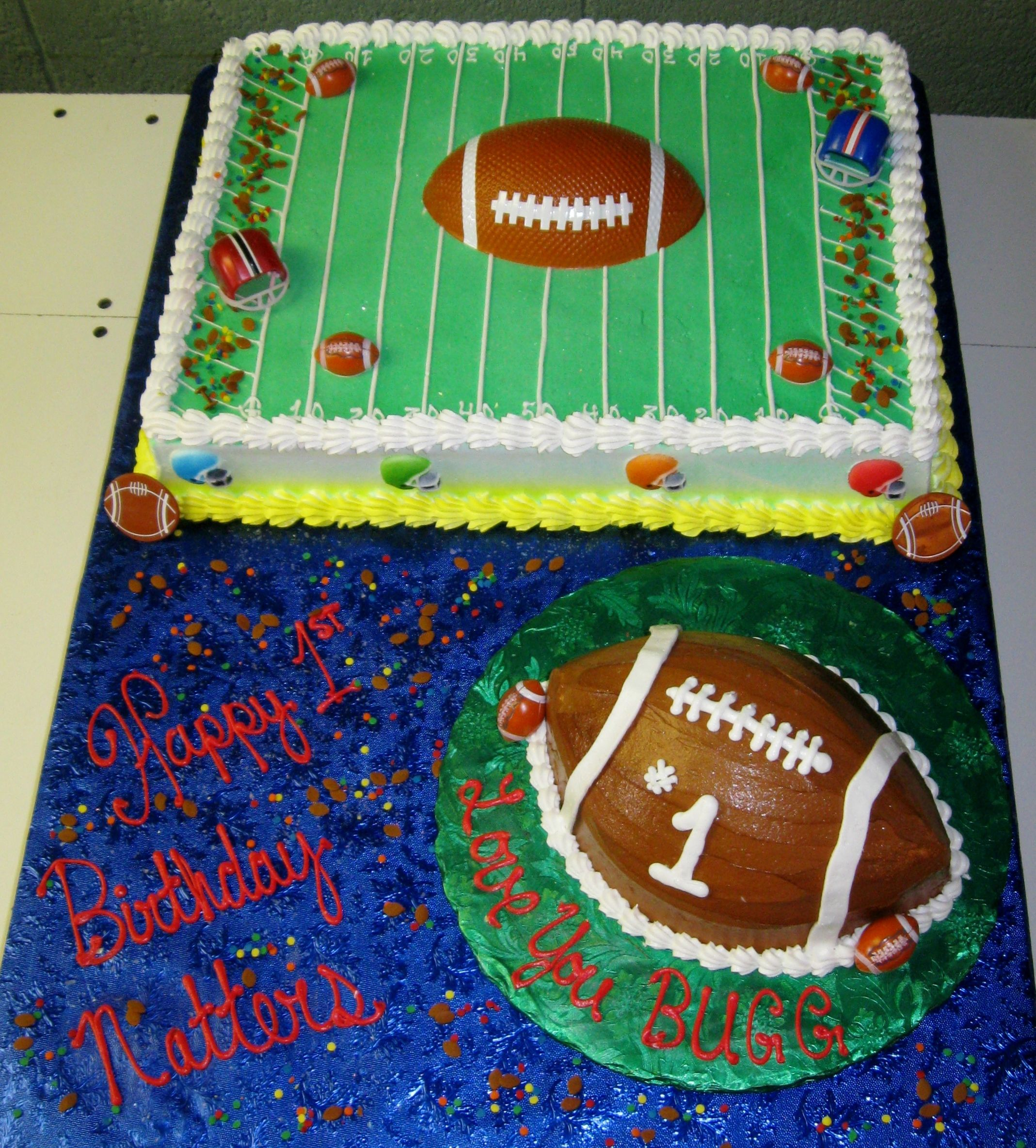 First Birthday Football Field And Mini Football Smash Cake