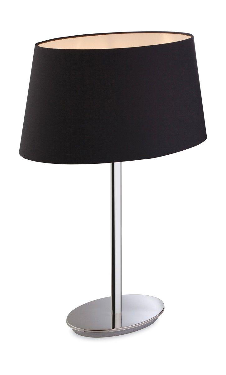 Lampe A Poser Princess 56 Cm 1 Ampoule En Inox Poli Abat Jour Noir Lamp Shade Table Lamp Lamp