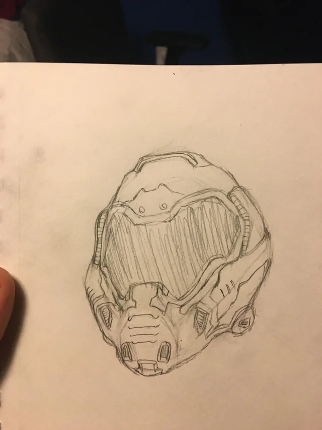Did A Quick Little Doom Slayer Helmet Drawing Design Art Drawing Art Blog Drawings