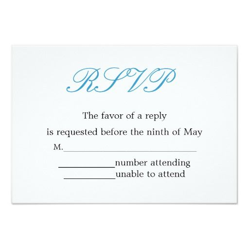 Simple And Elegant Wedding Reception Rsvp Card