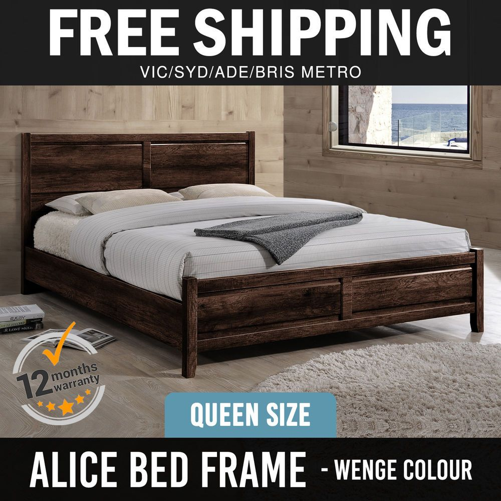 Bed Frame MDF Aesthetic Strong Legs Flat Pack Queen Size