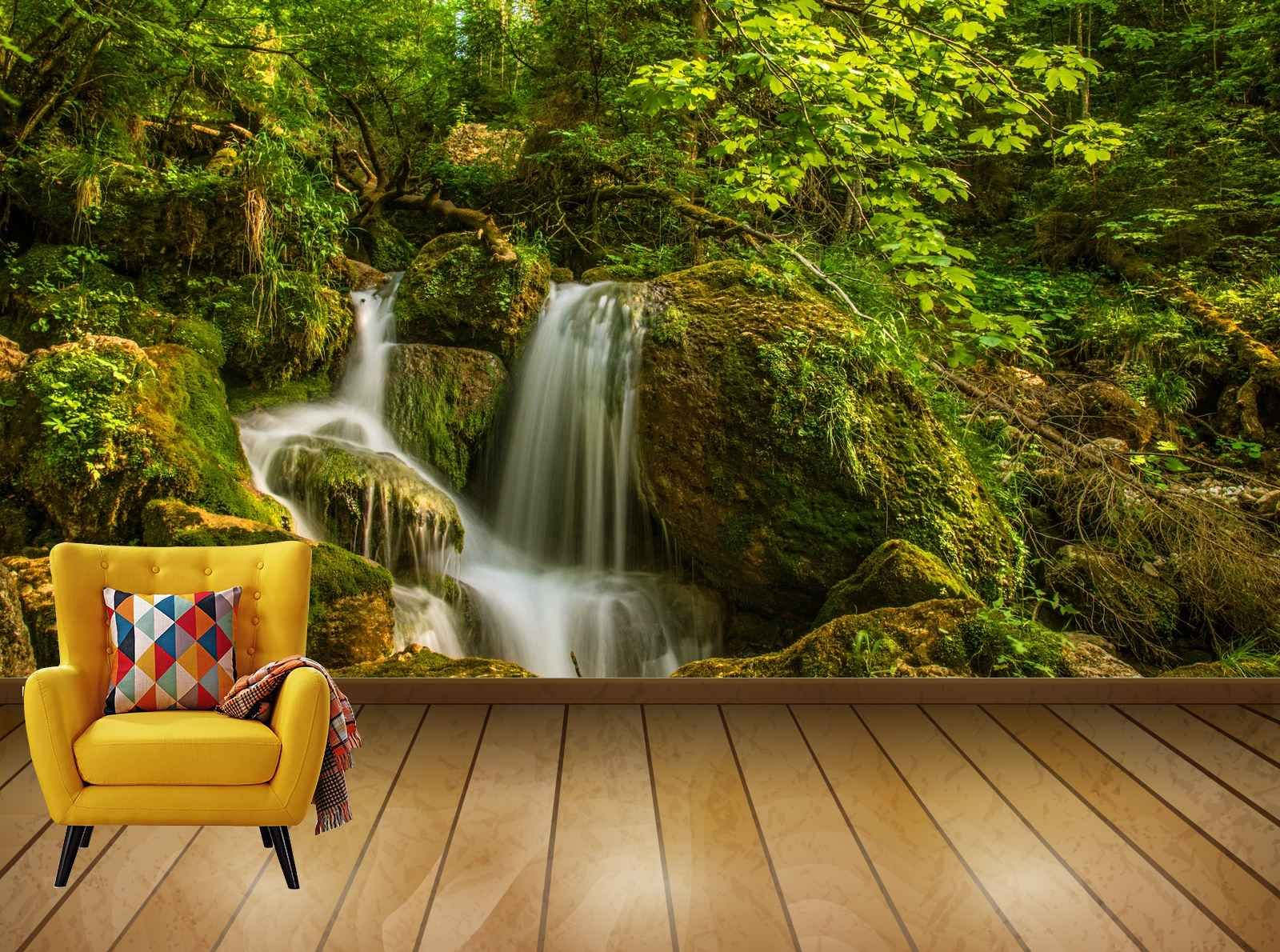 Avikalp Exclusive Awi7786 Waterfall Green Forest Nature