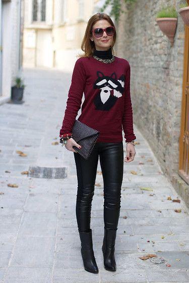 Pull Raccoon Sweater, Zara Leather Leggings, Zara Studded Envelope ...