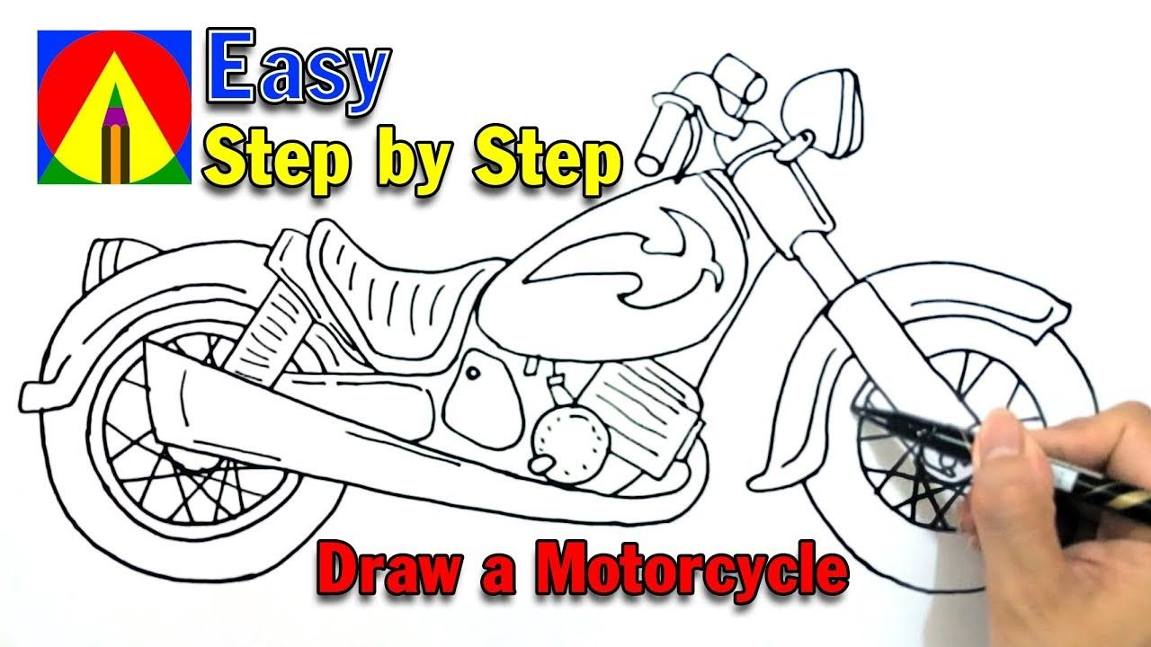 How To Draw A Motorcycle Easy Step By Step For Kids Drawing A