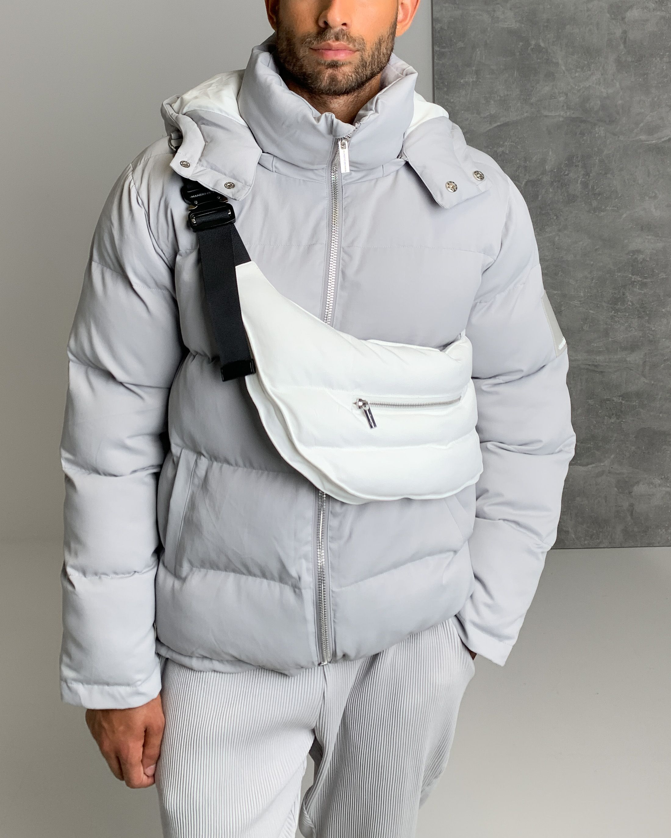 Puffer Jacket With Detachable Bag Ice Grey White In 2021 Mens Puffer Jacket Puffer Jacket Outfit Puffer Jacket Outfit Men [ 2750 x 2200 Pixel ]