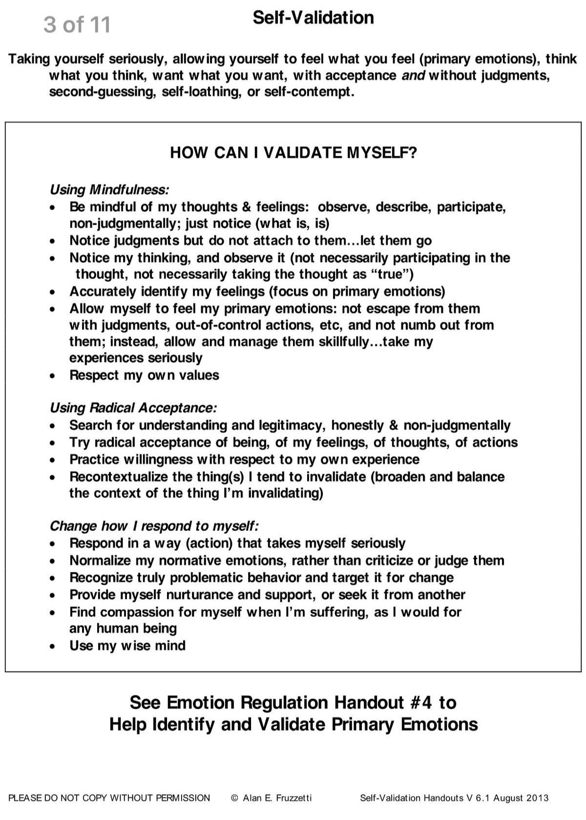 Dbt Self Validation Of Emotion Self Help Tools