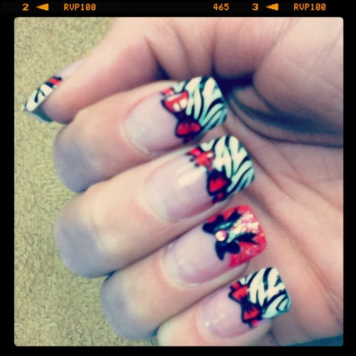Cool Zebra And Bow Design Cool Nail Designs Pinterest