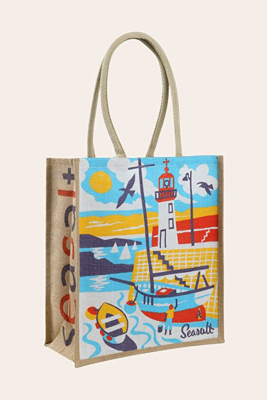 Erquay Harbour - sail boat and lighthouse print by Matt Johnson for Seasalt Cornwall