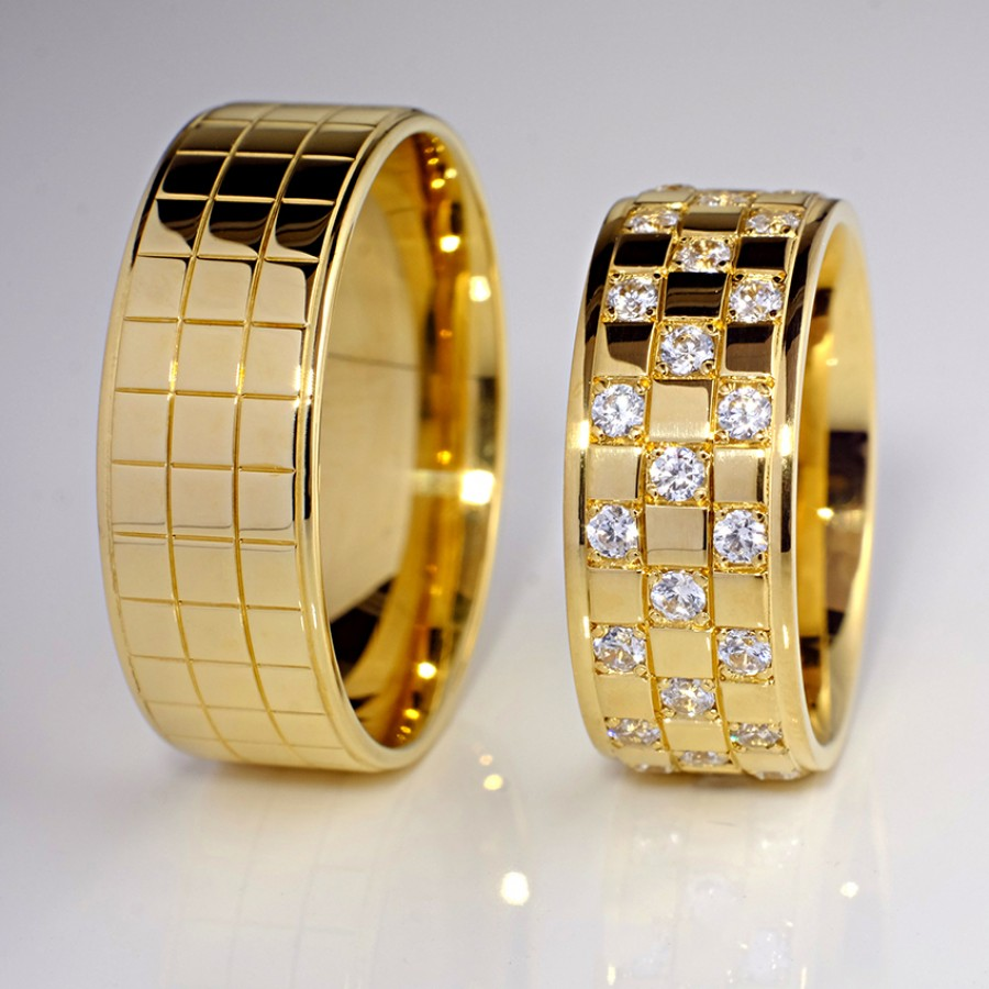 Engagement Full Stone Ring Gold Ring Designs Couple Wedding Rings Gold Jewelry Fashion