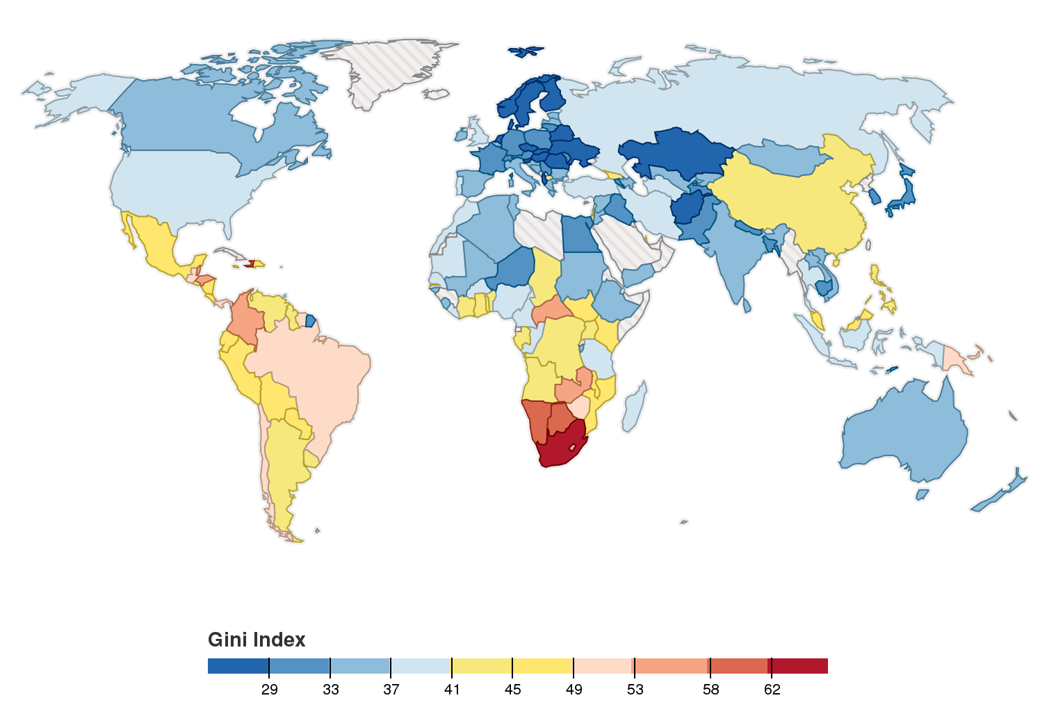 World map of the gini coefficient index the latest available from world map of the gini coefficient index the latest available from world bank the gini index is a measure of income distribution within a country gumiabroncs Choice Image