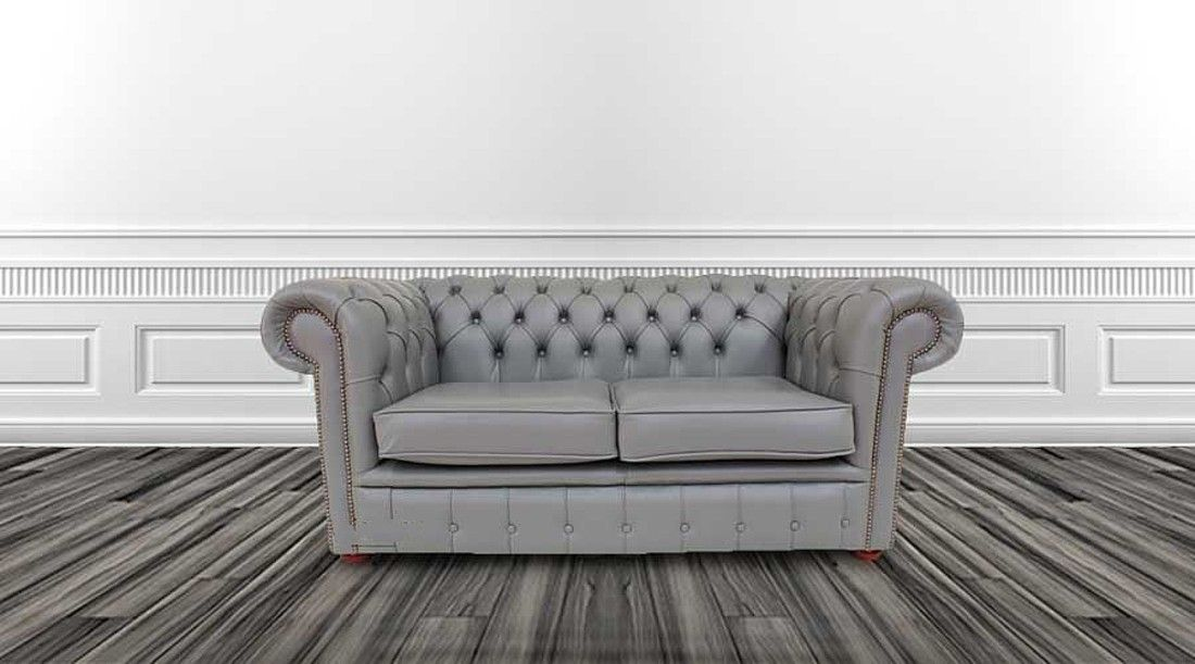 Chesterfield 2 Seater Sofa Settee Vele Iron Grey Leather Sofa