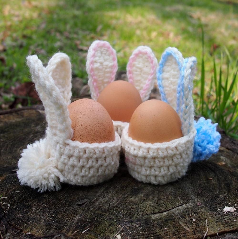 Easter bunny egg cozy Crochet pattern by Ana D #eastercrochetpatterns