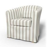 Ikea Barrel Chair Slipcover Covers Bemz Stripes Neutral Cabana