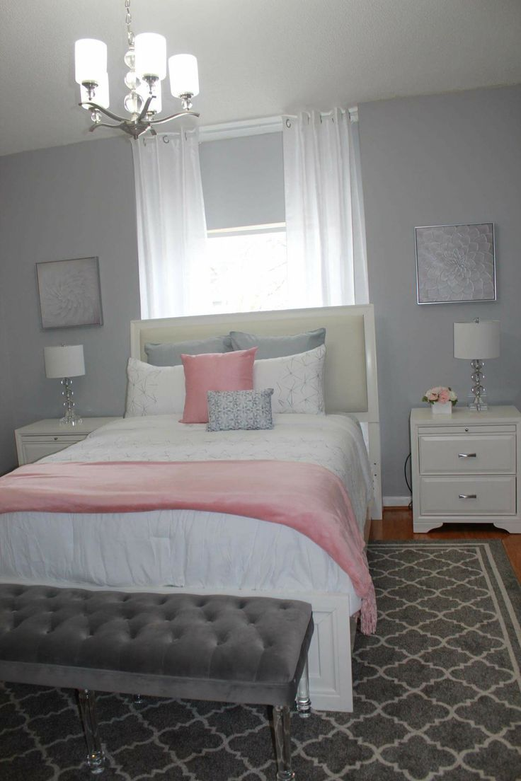 Pink and gray bedroom! Graues schlafzimmer, Zimmer