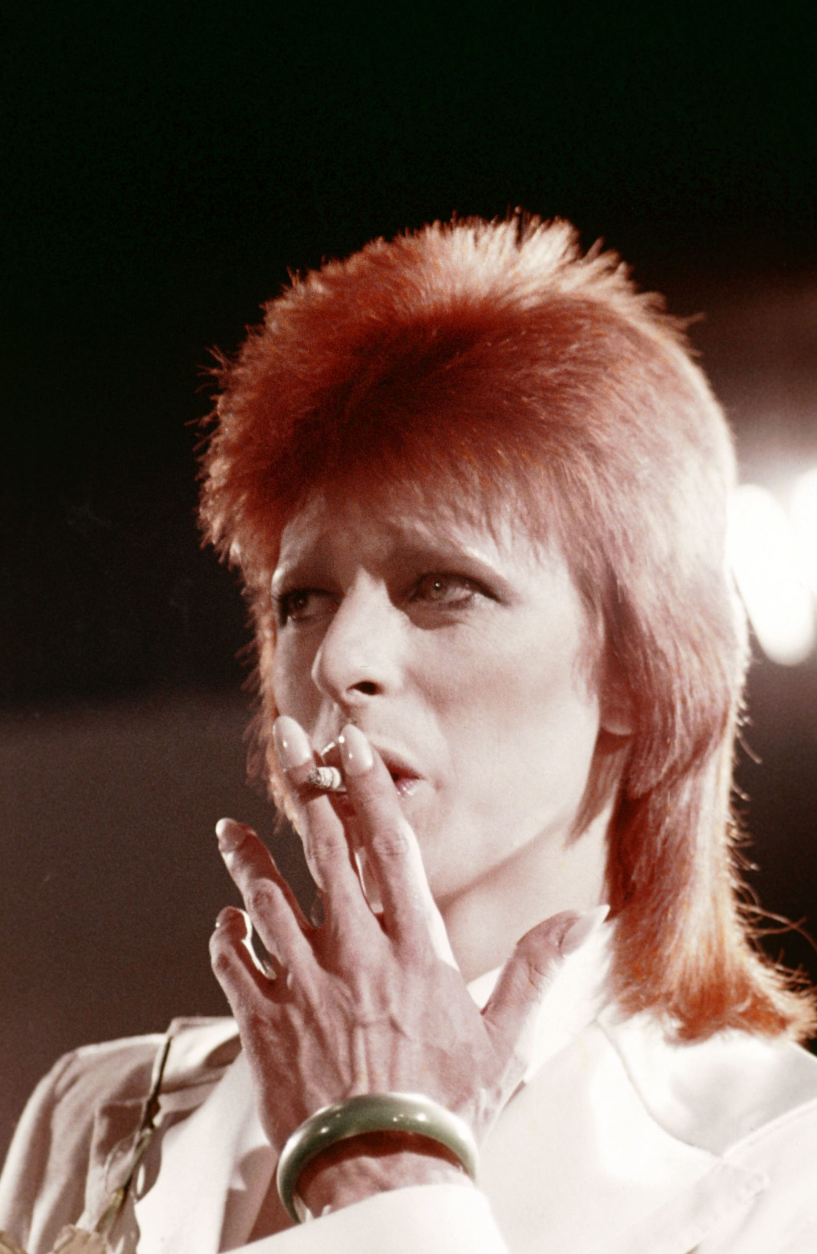 MIDNIGHT SPECIAL -- 'The 1980 Floor Show starring David Bowie' Episode 210 -- Aired: 11/16/73 -- Pictured: David Bowie during his last show as Ziggy Stardust filmed mostly at The Marquee Club in London, England from October 18-20, 1973 -- (Photo by: NBC/NBCU Photo Bank via Getty Images) via @AOL_Lifestyle Read more: https://www.aol.com/article/2014/07/24/bing-crosbys-kids-recall-dads-duet-with-david-bowie/20936299/?a_dgi=aolshare_pinterest#fullscreen