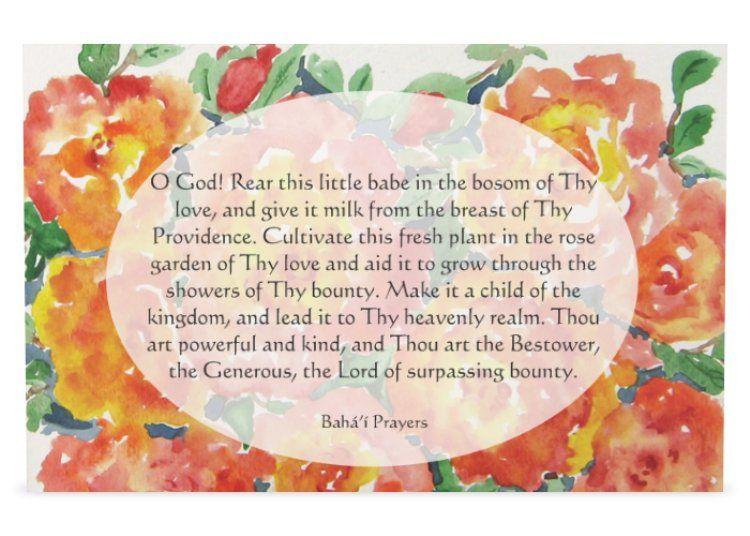 Set Of 2 Baha I Prayer Cards For Children 4 6 X Etsy Prayer Cards Floral Note Cards Floral Watercolor