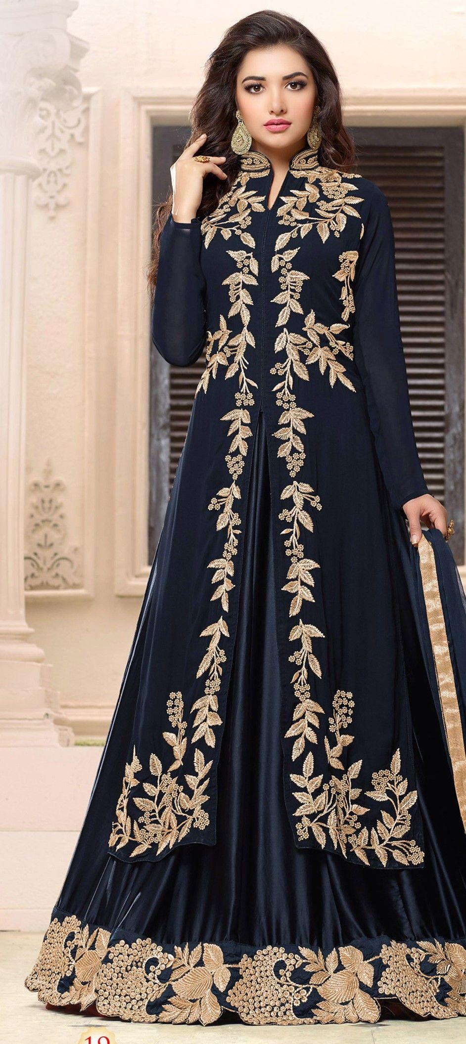 4a9ec8c344 490542: Black and Grey color family stitched Party Wear Salwar Kameez .