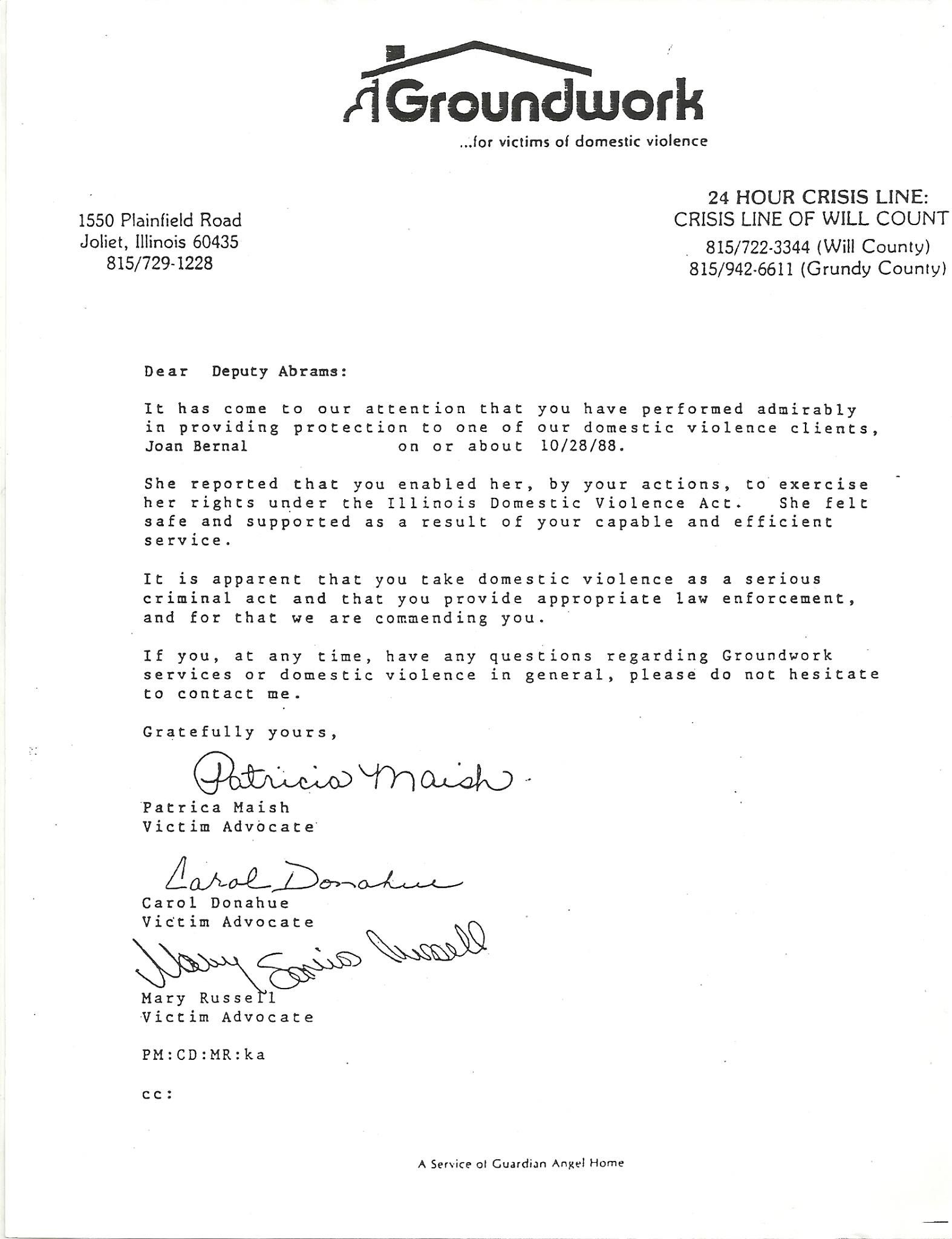 Letter Of Commendation From VictimS Advocates Patricia Maish And