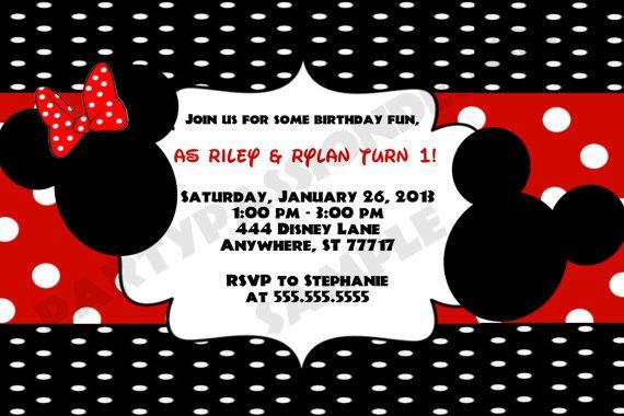 Mickey and Minnie Twin Birthday Invitation on Etsy 500 Mickey