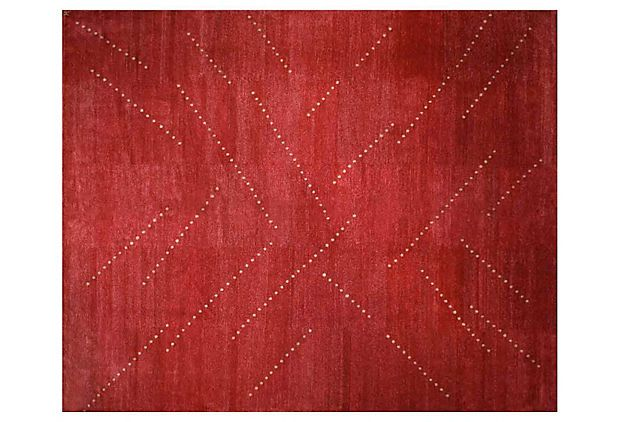 Madison Rug, Red/Cream -While the colors have different names ,they blend splendidly.This rug was created in Nepal w/ Tibetan wool & Chinese silk as a smaller area piece.