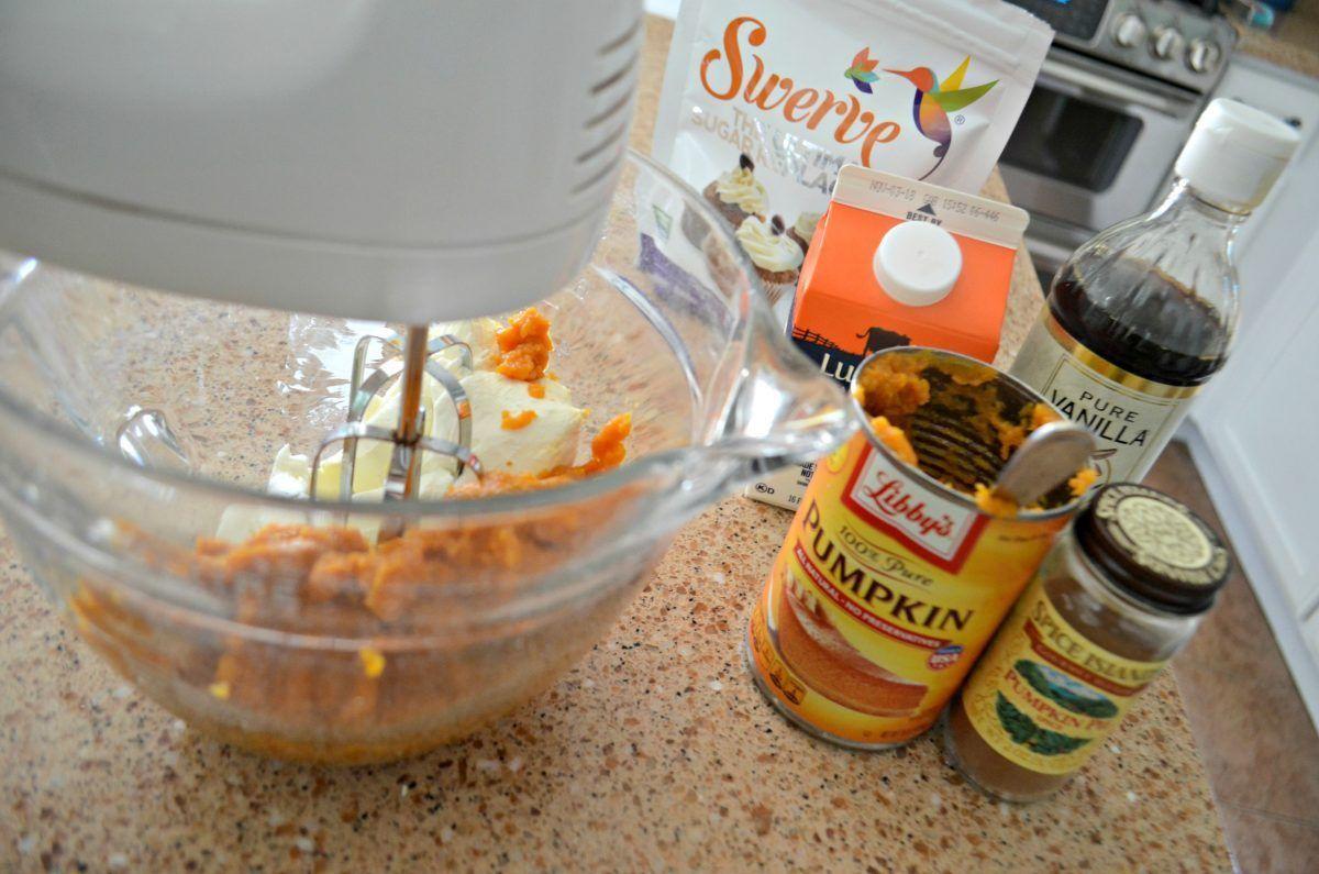 Keto sugar free pumpkin cheesecake mousse ingredients on