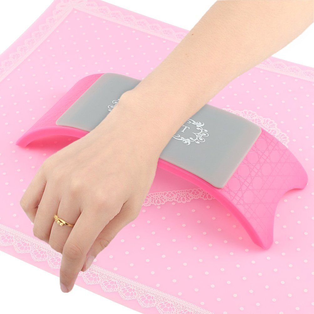 Bluetop Plastic And Silicone Nail Art Cushion Pillow Nail Salon Hand Holder Arm Rest Manicure Accessories Pink This Manicures Designs Matted Nails Manicure