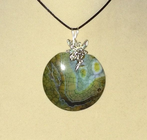 Green Dragon Vein Agate Copper Wire Wrapped
