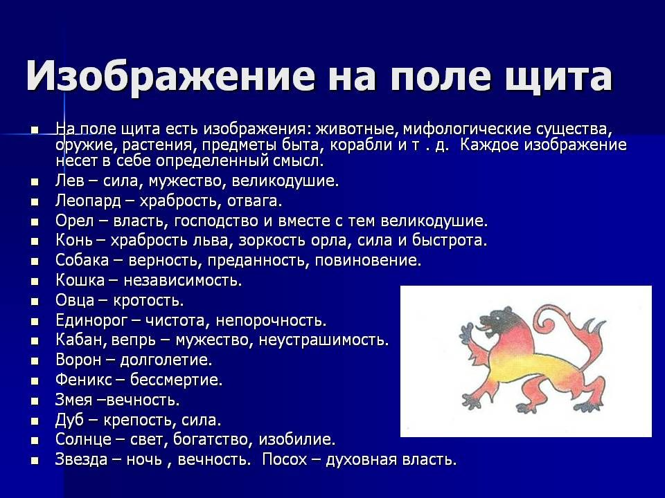 геральдические символы в картинках и их значение