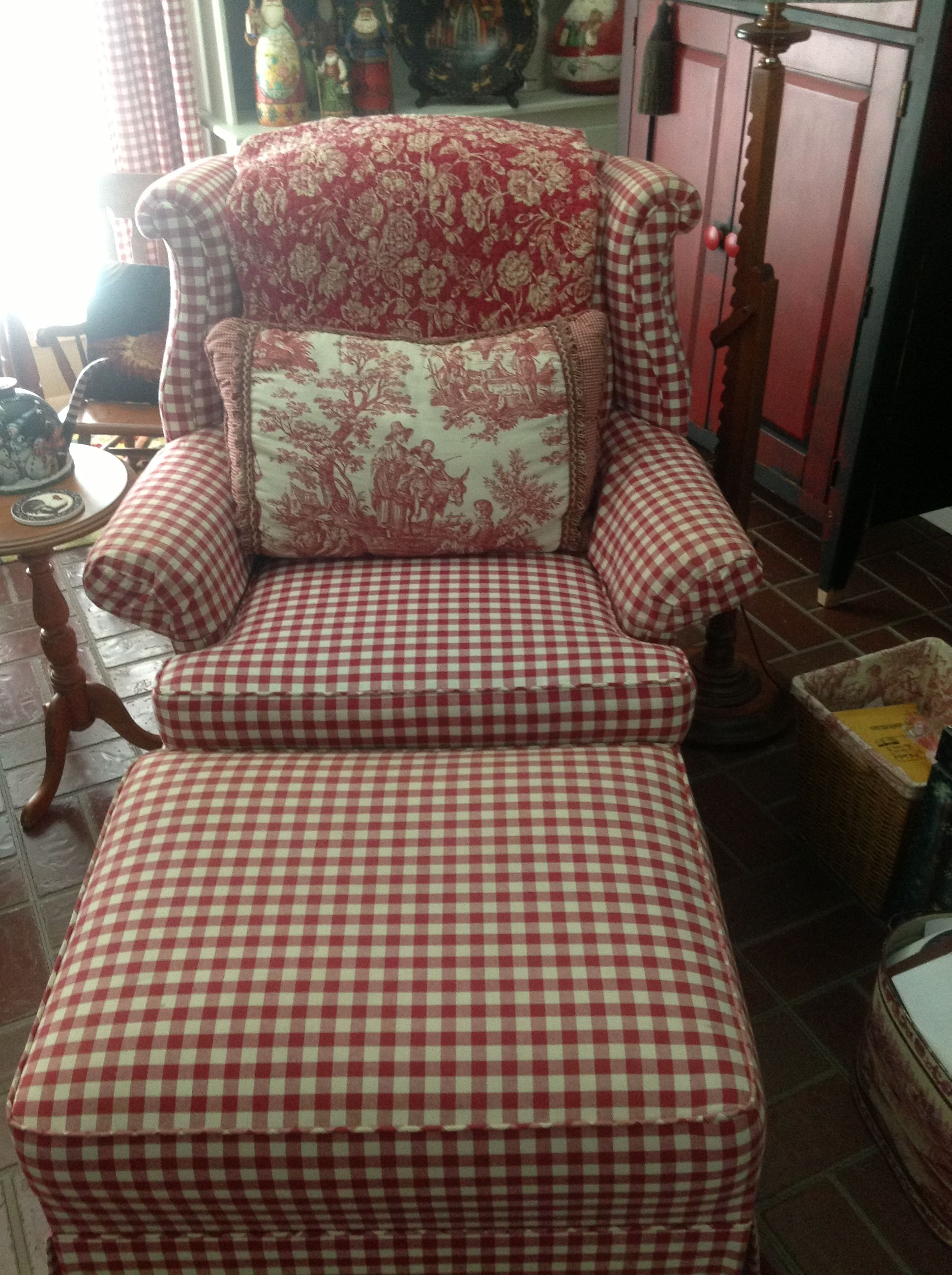 Red Checked Chair And Ottoman