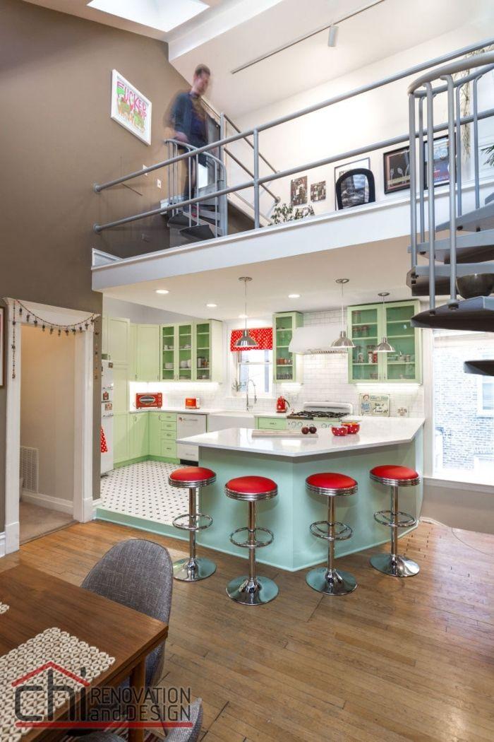 barra cocina, cocina contemporánea abierta al salón, barra de forma ...