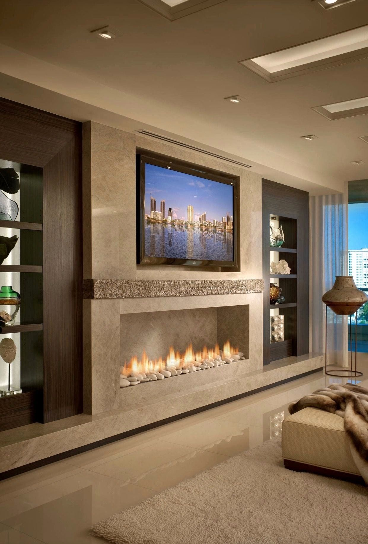 Living Room With Fireplace And Tv On Different Walls Luxury Fd6cd8bb48e8a5b73bda8b1b40ffa240 1 2 Luxury Living Room Fireplace Modern Design Trendy Living Rooms