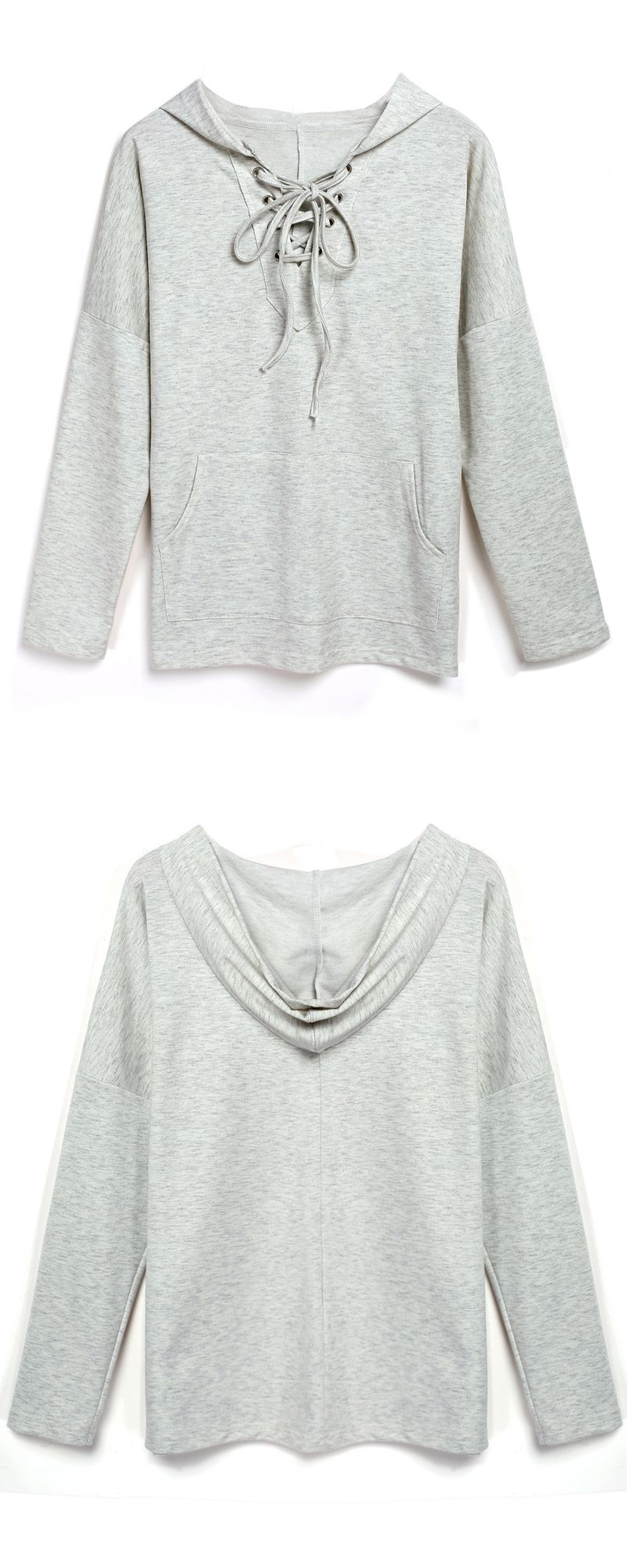 fa8fb13441 Grey Hooded Lace Up Loose Sweatshirt