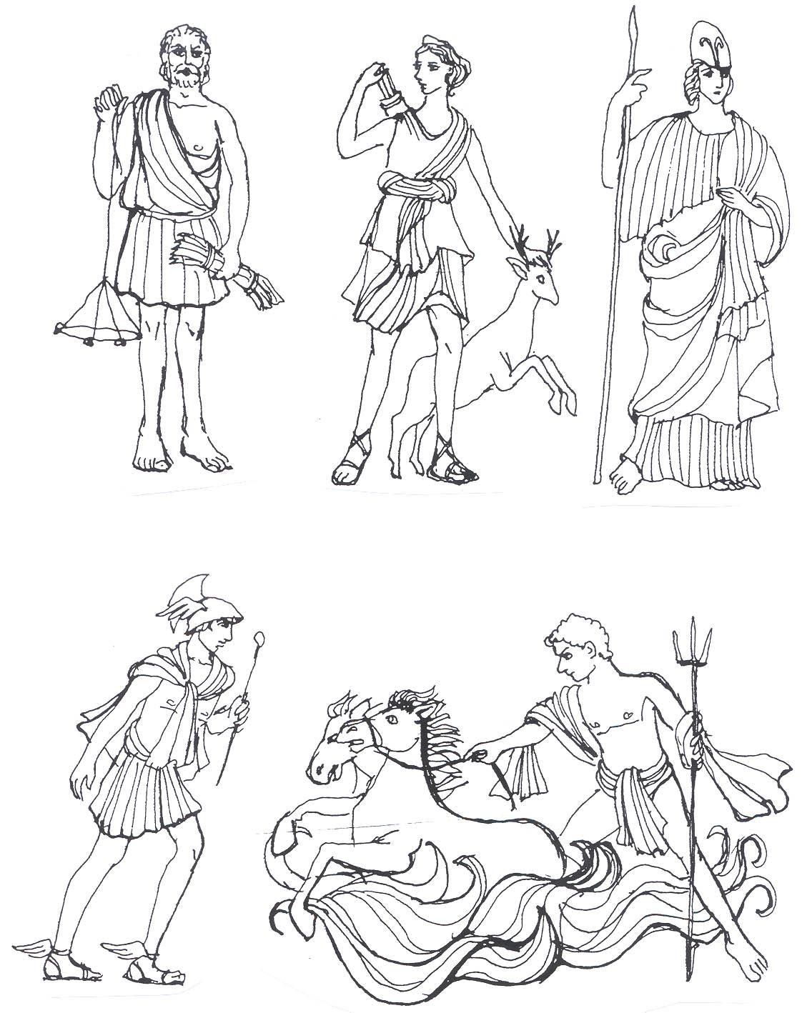 римские боги картинки карандашом проводит ладонью