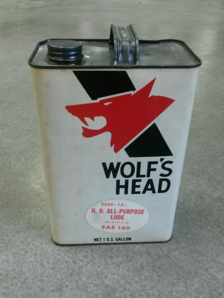 Vintage Wolf 39 S Head Motor Oil 1 Gallon Oil Can Very Clean Nice Graphics Adv Ebay Back In