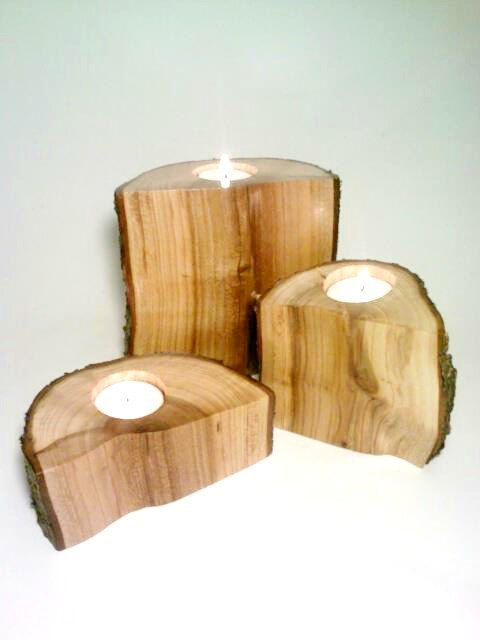 Log Candle Holder Split Holders Set Of 3 Centerpiece Tea Light Rustic 60 00 Via Etsy