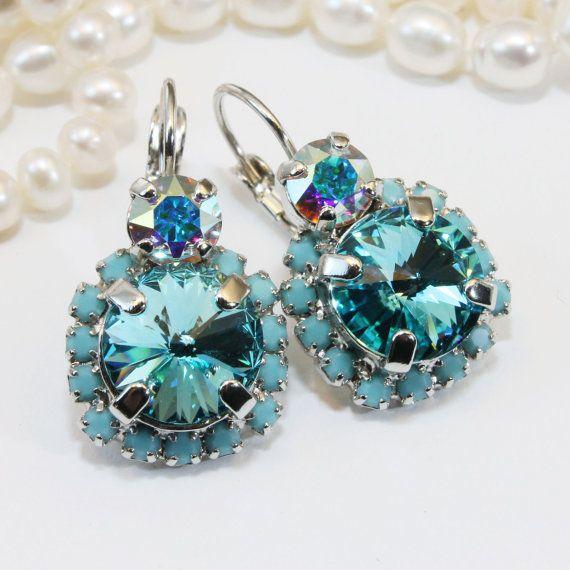 Aqua Crystal Earrings Turquoise Tiffany Blue Drop by TIMATIBO