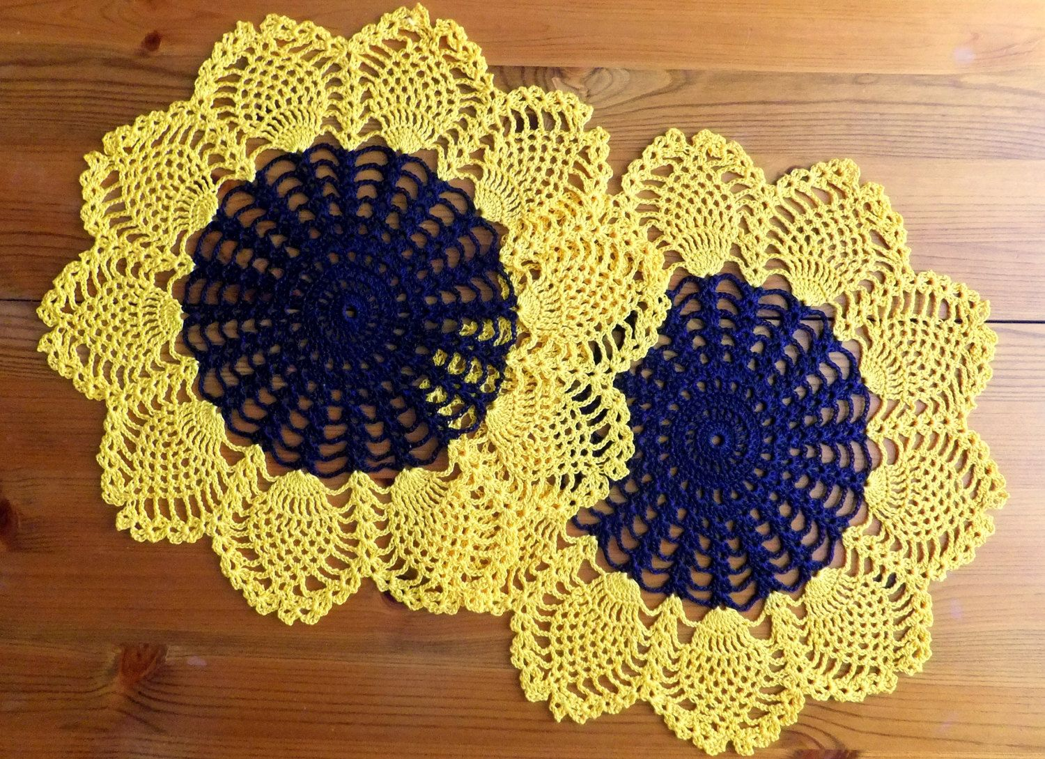 Sunflower doily crochet tablecloth table by MadeByElina on Etsy