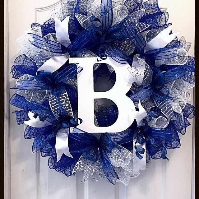 Photo of Christmas Blue and Silver Deco Mesh Wreath / Blue and Silver Deco Mesh Wreath / Christmas Wreath / Blue and Silver Christmas Wreath