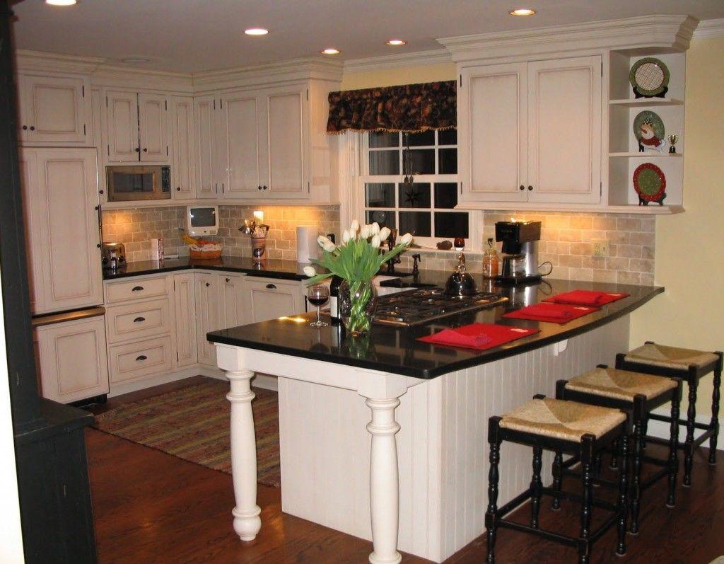 Soft Yellow Walls Brick Backsplash White Cabinets Black Granite