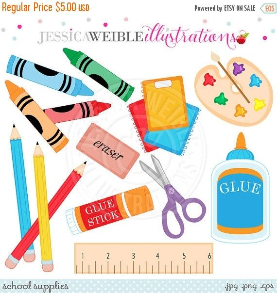 School Supplies Cute Digital Clipart Commercial Use Ok Etsy Clip Art School Supplies Digital Clip Art