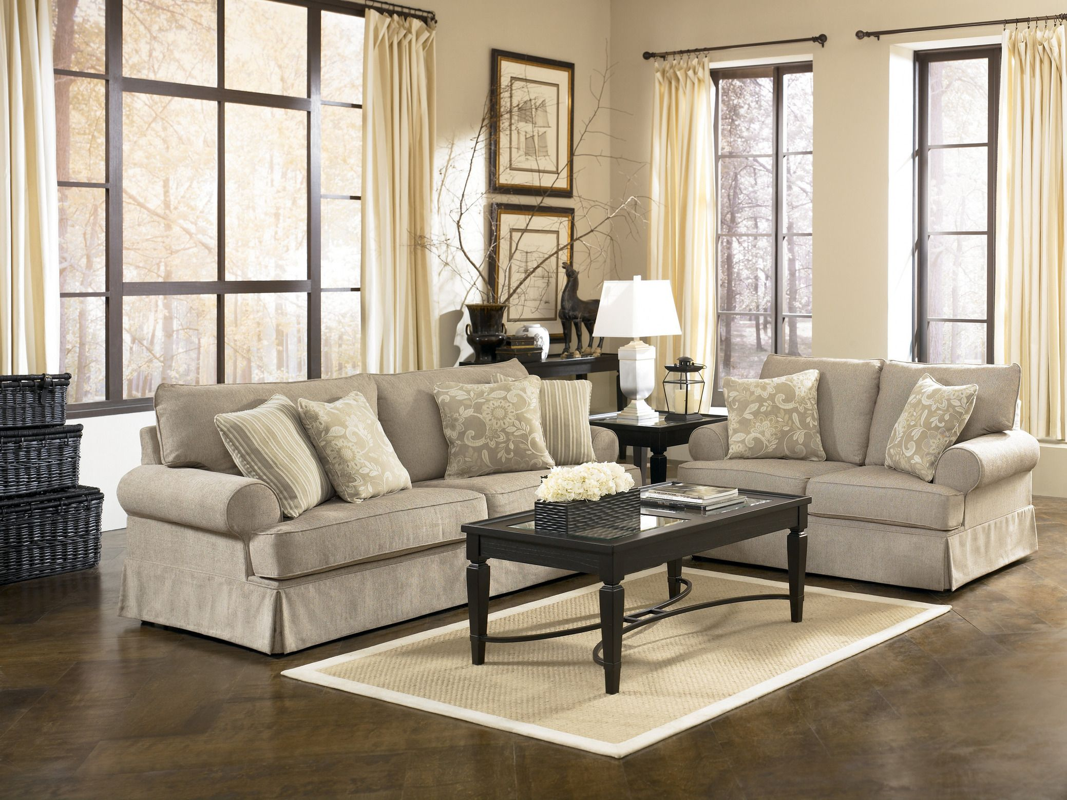 Beauteous Living Room Furniture Decoration With Grey Fabric F Sofa