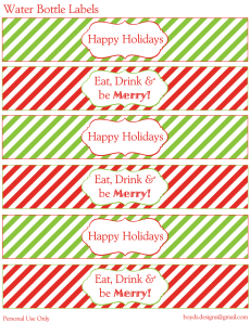 12 Days Of Christmas Diy Printable Freebies Day 3 Water Bottle