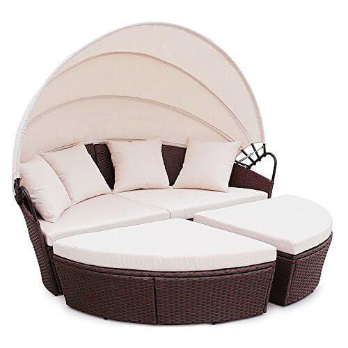Polyrattan Sunbed Lounge rund mit Kissen und Dach | Garten