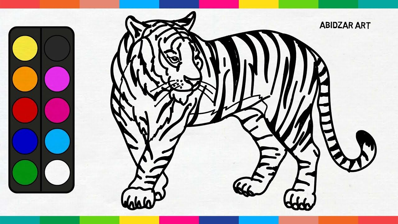 Tiger Drawing & Coloring Easy For Kids Toddlers