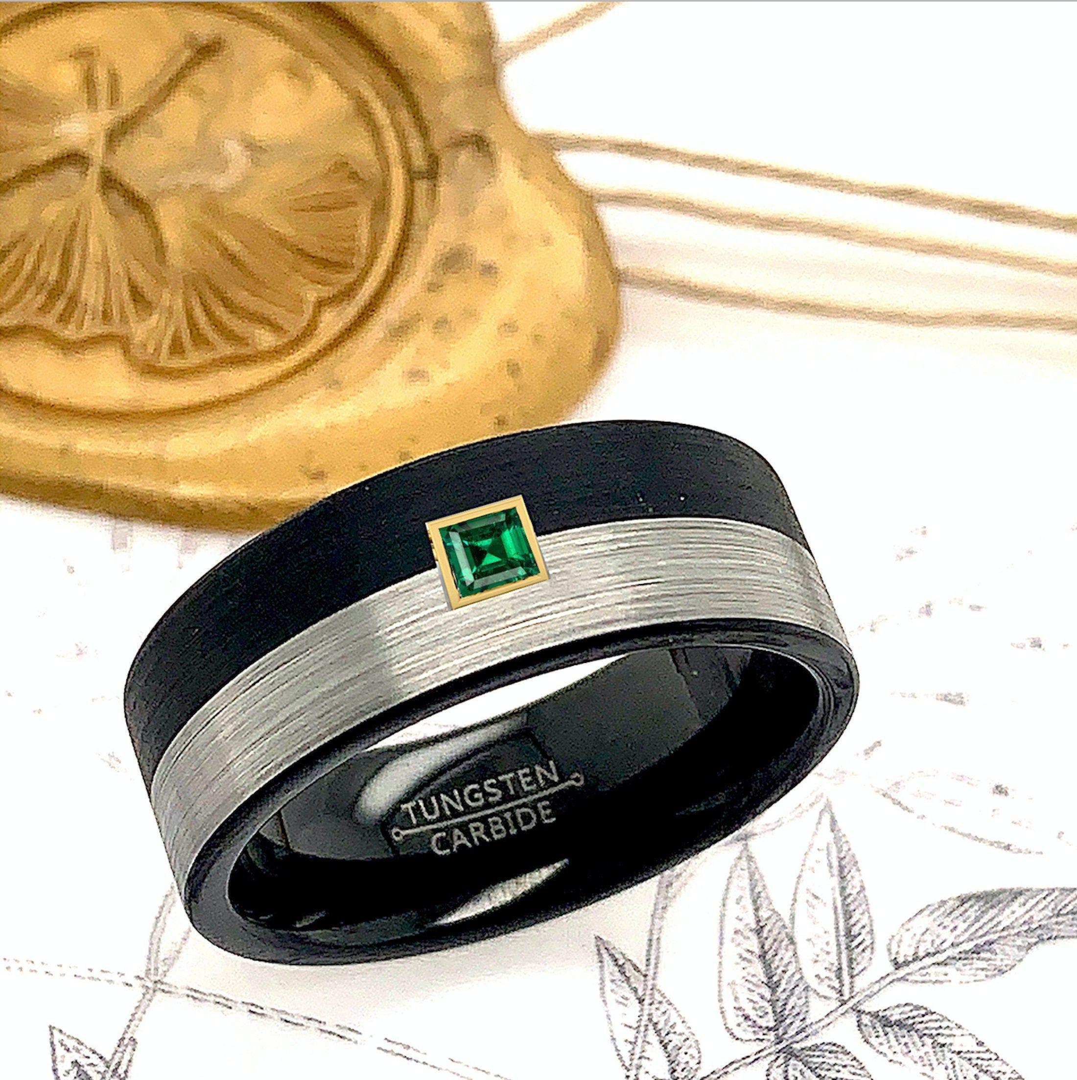 Tungsten Ring, Mens Tungsten Wedding Band, 8mm Black