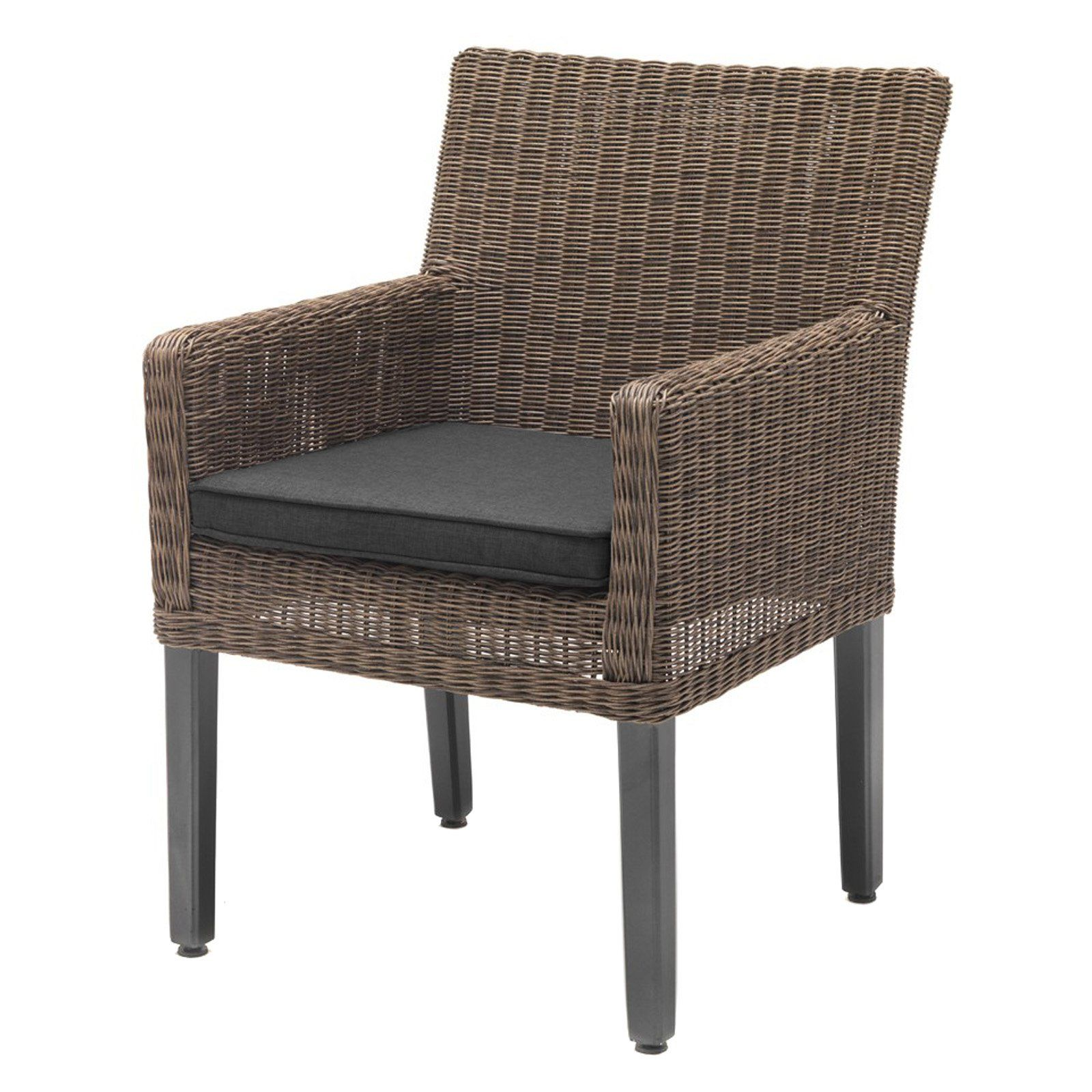 Outdoor kettler bretange wicker patio lounge chair canvas coal